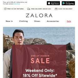 [Zalora] 😎 Weekend SALE: Extra 18% Off Sitewide!