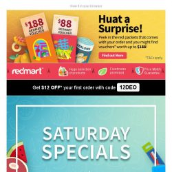 [Redmart] $12 OFF your order, and additional vouchers to be won!
