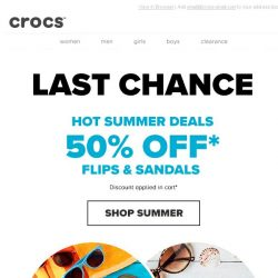 [Crocs Singapore] LAST CHANCE: 50% OFF selected flips and sandals!