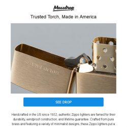 [Massdrop] Brass Zippo Lighter: American-Made With a Lifetime Guarantee for $14.99