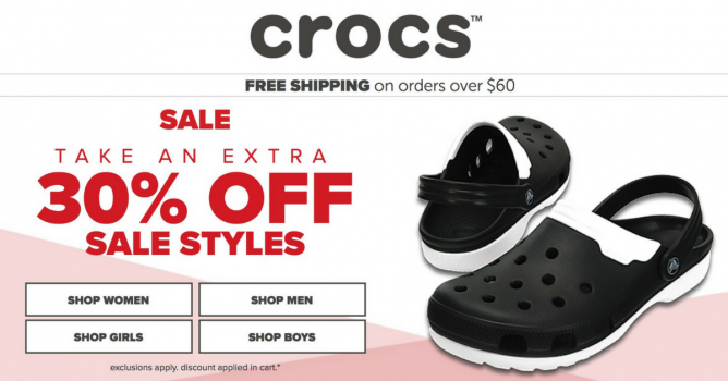 a28f011547f4 Enjoy an extra 30% off on your favourite Crocs shoes online! Get a new pair  for the brand new year! Exclusions apply. Discount will be automatically  applied ...