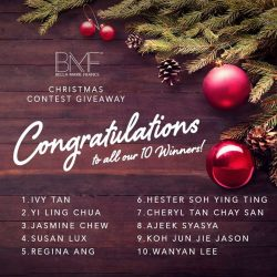 [Marie France Bodyline] Congratulations to the 10 winners for our Christmas Contest Giveaway, who will each walk away with a Christmas Gift Pack (