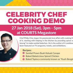 [Courts] Learn useful culinary tips and tricks from experienced chef and author Philip Chia at COURTS Megastore this Saturday (27 Jan)!