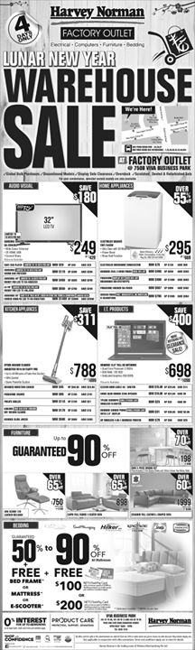 [Harvey Norman] Lunar New Year Warehouse Sale now on at HarveyNormanSG Factory Outlet, 750B Viva Business Park.