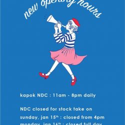[Kapok Tools] updated opening hours for NDCkapok NDC is now open from 11am - 8pm daily!