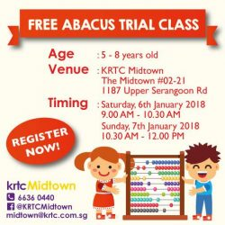 [Kent Ridge Education Hub] FREE ABACUS TRIAL CLASS AT KRTC MIDTOWN Speed up your mental math by learning 'Abacus Mental Arithmetic' Click this link
