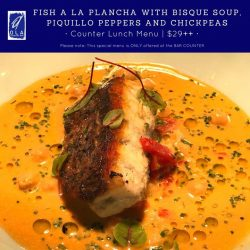 "[Ola-Cocina del Mar] Enjoy some delicious grilled sustainable fish ""a la plancha"" with bisque soup, piquillo peppers and chickpeas for lunch today."