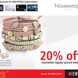 [Nomination Italy] DBS/POSB CARDMEMBERS EXCLUSIVE: 20% off storewide (regular priced items) .