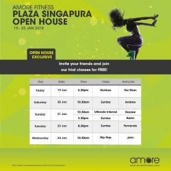 [Amore Fitness] Starting 2018 with FREE workouts at our Open House at Plaza Singapura from 19-25 Jan!