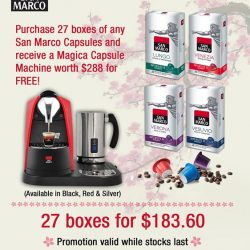 [Bon Cafe] Don't miss our San Marco Coffee Capsules and Machines promotion at TANGS, Orchard.