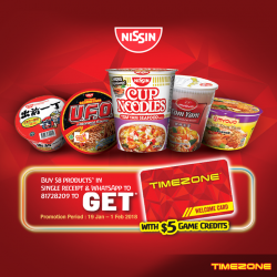 [Timezone] From 19 Jan to 1 Feb, purchase $8 worth of Nissin products and receive a FREE TIMEZONE card with $5
