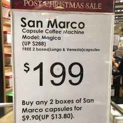 [Claude Bernard] Purchase a San Marco Coffee Capsule Machine - Magica for $199 only and get 2 boxes of coffee capsules - Lungo and
