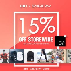 [Nomination Italy] Pay with SpherePay and enjoy 15% OFF at DOT + receive a $5 Cashback for the first transaction + oBike vouchers!