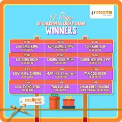 [NTUC Income Insurance] Congratulations to the winners of Income's 12 Days of Christmas Lucky Draw!