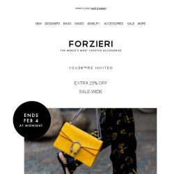 [Forzieri] 3 days only: Extra 20% Off SALE-wide
