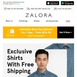 [Zalora] Totally FREE Shipping On 100+ Shirts!