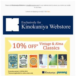 [Books Kinokuniya] 📚 Brush up on your Classics and ✈ travel the world with these exclusive discounts on Kinokuniya Webstore Singapore