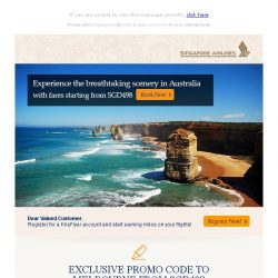 [Singapore Airlines] Exclusive promo code to Melbourne from SGD498 - plan your next getaway now