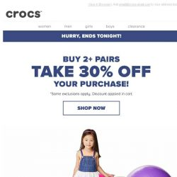 [Crocs Singapore] Last Chance! Buy 2+ Pairs and take 30% OFF!