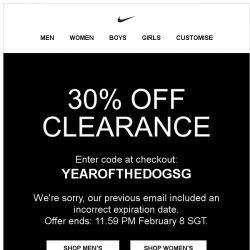 [Nike] Correction: 30% Off Clearance Ends Thursday