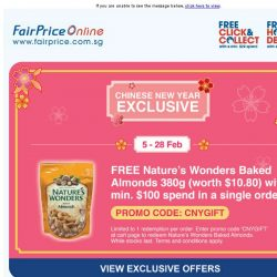 [Fairprice] CNY Exclusive: Free Nature's Wonders Baked Almonds!