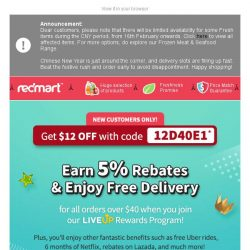 [Redmart] Yes! $12 OFF and extra rebates!