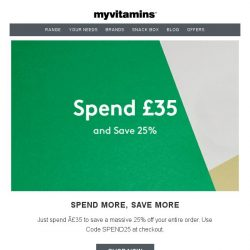 [MyVitamins] Spend and Save | Extra 25% off