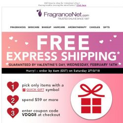 [FragranceNet] Free Express Shipping* - Guaranteed by Valentine's Day