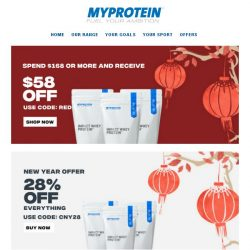 [MyProtein]  , Here is $58 Off Your Next Order