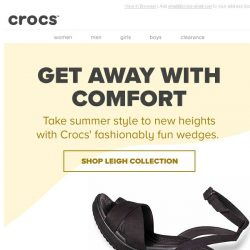 [Crocs Singapore] Last day of FREE SHIPPING! Shop our newest Leigh II Wedges & Sandals now!