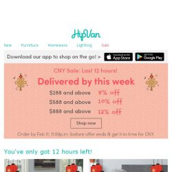 [HipVan] [Last 12h] Your CNY Storewide Sale is almost over!😱