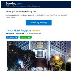 [Booking.com] Carlton Hotel Singapore – are you still interested in staying?
