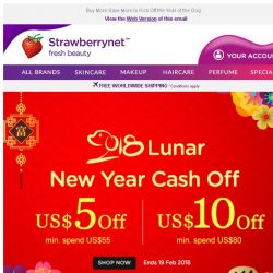 [StrawberryNet] Save US$10 or US$5 during Lunar New Year🌝 Cash Off Sale