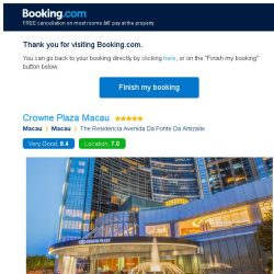 [Booking.com] Crowne Plaza Macau – are you still interested in staying?
