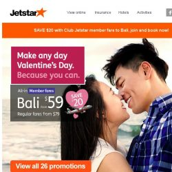 [Jetstar] 💘 Make any day Valentine's Day with hot fares to Bali and more!