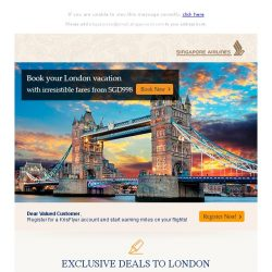 [Singapore Airlines] Fly to London from SGD998 with our exclusive promo code