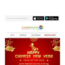 [Floweradvisor] 15 Hours Left to Chinese New Year. Celebrate The Year of The Earth Dog with Special Discount for You!