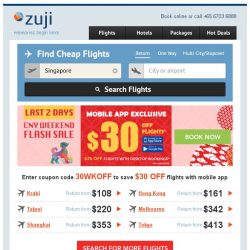 [Zuji] BQ.sg: $30 off flights - CNY Flash Sale!