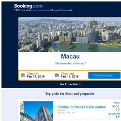 [Booking.com] Prices in Macau are dropping for your dates!