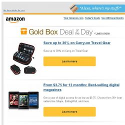 [Amazon] Save up to 30% on Carry-on Travel Gear