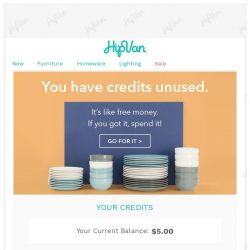 [HipVan] You have credit remaining in your account.