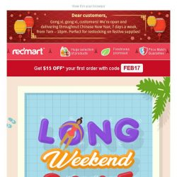 [Redmart] Up to 55% OFF in our Long Weekend SALE 🌴