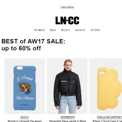 [LN-CC] BEST of AW17 SALE: up to 60% off selected items