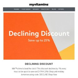[MyVitamins] Beat The Clock For An EXTRA 25% Off!