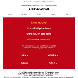 [LUISAVIAROMA] Last hours for our double promo!