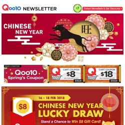 [Qoo10] Stand a chance to win an $8 Gift card in our CNY Lucky draw! Don't miss the last chance to shop our Lunar New Year Sale!