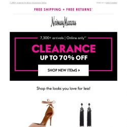 [Neiman Marcus] 70% off in clearance! New arrivals just added