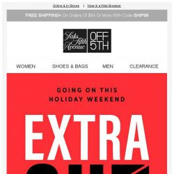 [Saks OFF 5th] Take an EXTRA 25% OFF clearance apparel!