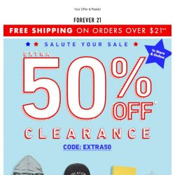 [FOREVER 21] ATTN: Name, Take an Extra 50% OFF!