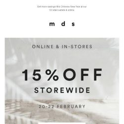 [MDS] 15% off on regular items online & in stores.